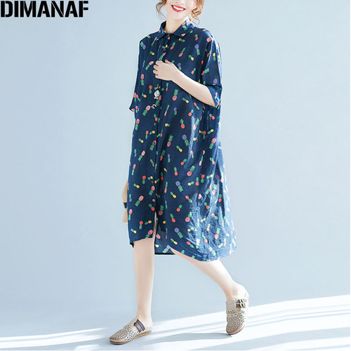 DIMANAF Plus Size 2018 Summer Blouse Women Linen Cardigan Loose Pineapple Print Blue Sweet Fashion Casual Short Sleeve Blouse
