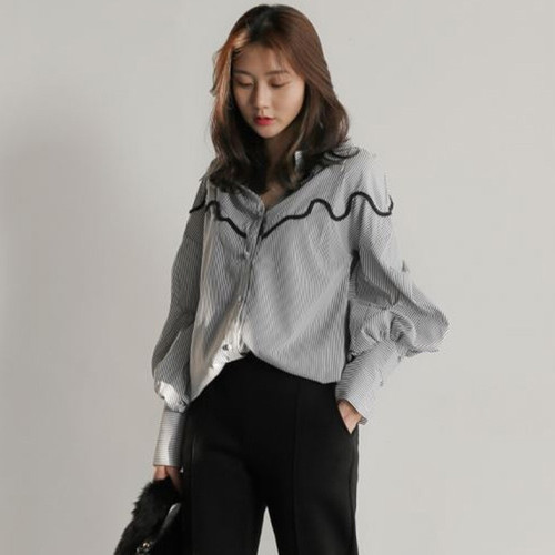 Plus size women blouse shirt fashion women blouses 2019 long sleeve striped women tops and blouses tops female blusa 0819 40