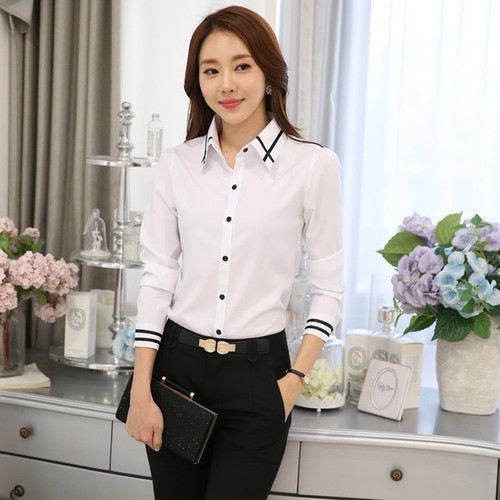2018 New Chiffon blouses shirts Women Blue White Shirt OL Office Lady Full sleeves Work Wear Tops Plus Size Blusas Femininas