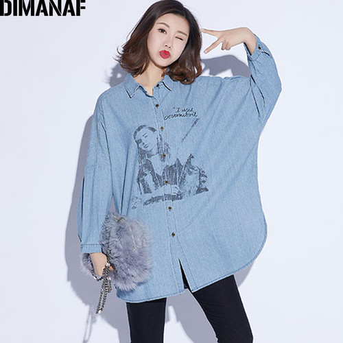 DIMANAF Women Top Shirts Autumn Female Clothing Vintage Denim Blue Long Sleeve Loose Cotton Print Plus Size Cardigan Winter 2018