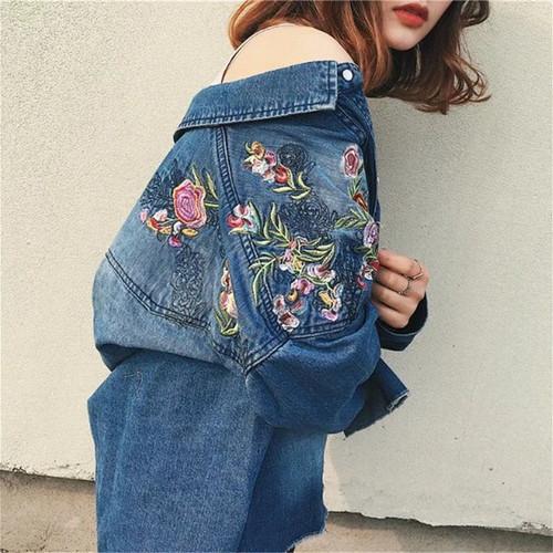 Women Clothes Loose Blouse Long Sleeves Denim Shirt Nostalgic Vintage Flower embroidery  Blue Jeans Shirt Plus Size Camisa