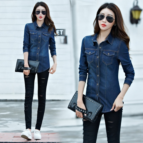 New Women Autumn Spring Casual Basic denim cowboy Long sleeve Blouse Tops Shirt buttons loose Blue Jeans Large Size