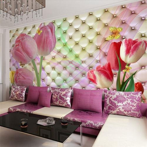 beibehang Custom photo wallpaper Large 3D Stereo romantic wedding room cozy living room bedroom tulip flowers 3d mural wallpaper