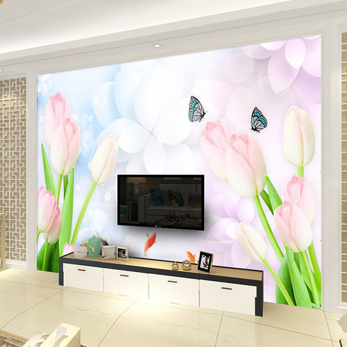 Custom Wall Mural Wallpaper Modern Fashion 3D Stereo Relief Flower Mural Living Room TV Background Wall Papers Home Decor Tulip