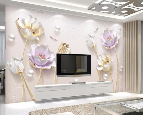 beibehang Custom Wallpapers 3d Photo Murals Paintings Relief Novelty New Chinese Simple Stereo Tulip Background wall paper mural