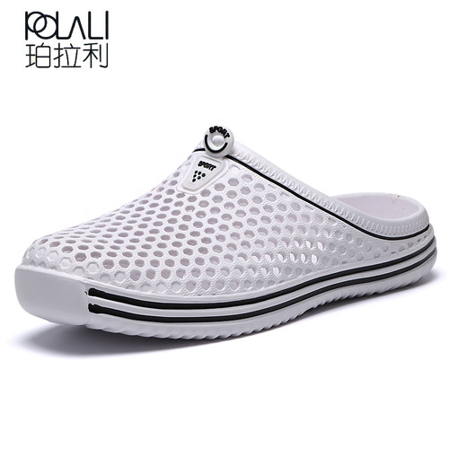 POLALI 2018 Summer Slippers Men Hollow Out Breathable Beach Flip Flops Unisex Casual Slip-on Flats Sandals Men Shoes size 45