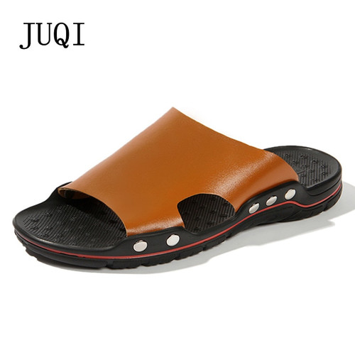 2018 New Fashion Summer Shoes Men's Slippers PU Leather Beach Sandals Men Casual Shoes Flip Flops Big Size