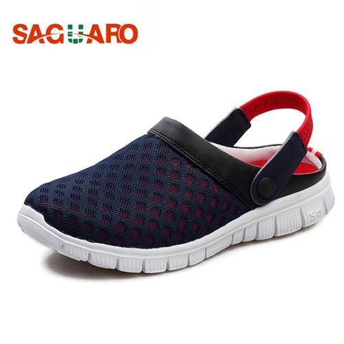 SAGUARO Summer Men Slippers Shoes 2018 Fashion Mesh Slippers Unisex Beach Sandals Casual Flat Slip On Flip Flops zapatos hombre