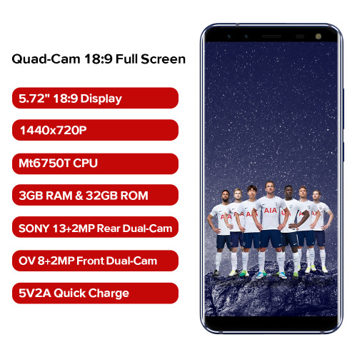 LEAGOO S8 4G Android 7.0 Moblie Phone 3GB+32GB 5.72 Inch Edge-Less Display MTK6750T Octa Core 13MP 4 Cams USB Type C Smartphone