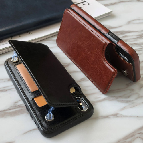CASEIER PU Leather Phone Case For iPhone X XR XS Max 8 7 6s 6 5s 5 SE Card Slot Holder Back Case For iPhone 8 7 6s 6 Plus Cover