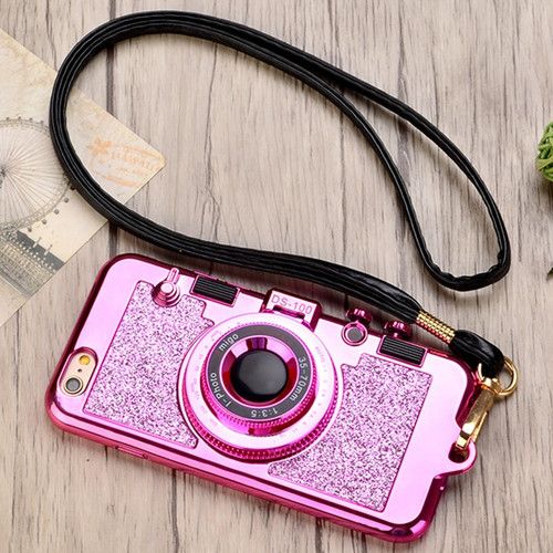 Retro Camera Neck Strap Phone Cases For iPhone XS Max XR X 10 7 8 Plus 6s Rubber Silicone Case Makeup Mirror Stand Cover Lanyard
