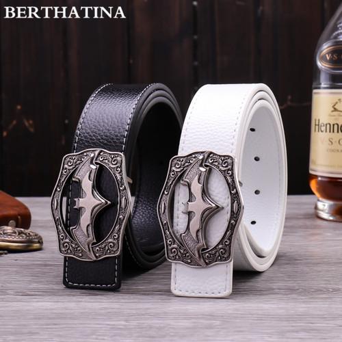 BERTHATINA New Designer Mens Leather Belt Causal Fashion Alloy Batman logo Smooth Buckles Hot Luxury Brand Waistbelt For Men