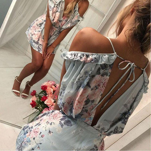 Summer Chiffon Jumpsuit Women Sexy Off Shoulder V-Neck Floral Printed Rompers Ladies Beach Style Boho Mini Playsuit Shorts #JO