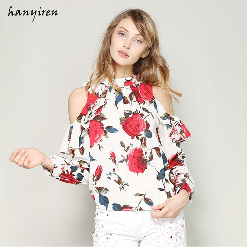 Hanyiren Round Neck Printed Chiffon Blouse Cold Shoulder Shirt Layered Ruffle Long Sleeve Top Lady Stand Collar Blouse Plus Size