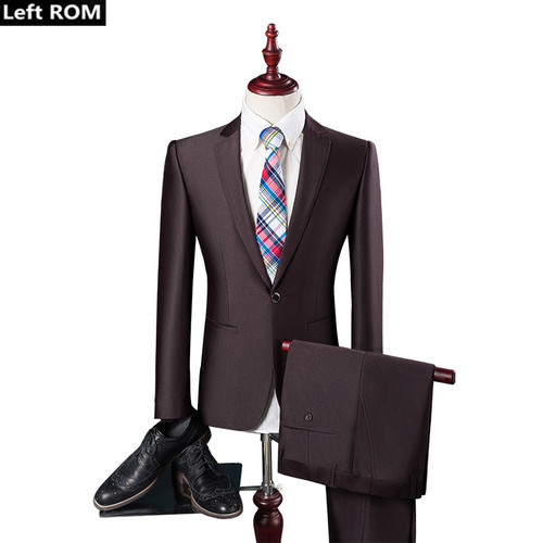 ( Jacket + Pants ) New 2019 Fashion Boutique Pure Color Groom Wedding Dress Mens Suits / Casual Business Brand Forma Male Suits