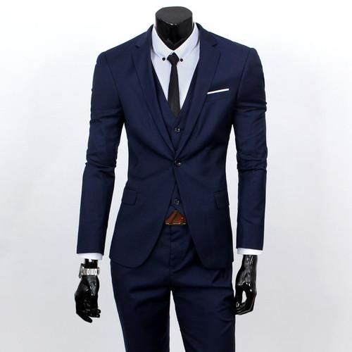 ( Jackets + Vest + Pants )  Fashion Boutique Pure Color Groom Wedding Dress Suits Men Slim Formal Business Blazer Suits YF-18