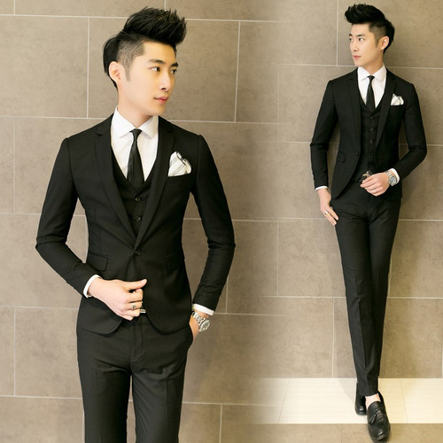 ( Jacket + Vest + Pants ) New 2019 Mens Boutique Pure Color Fashion Groom Wedding Dress Suits / Male Quality Slim Business Suits
