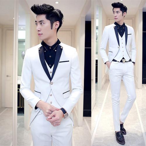 ( Jacket + Vest + Pants ) Mens Fashion Boutique Cotton Pure Color Groom Wedding Dress Wedding Wedding Suits / Men Tuxedo Suits