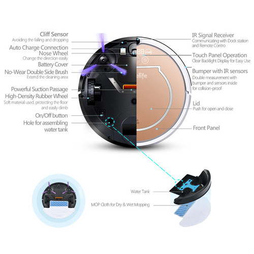 2018 Wet Robot Vacuum Cleaner for Home 2 in1 PRO2S Mop Dry Wet Water Tank 800PA Auto Cleaning Smart ROBOT ASPIRADOR