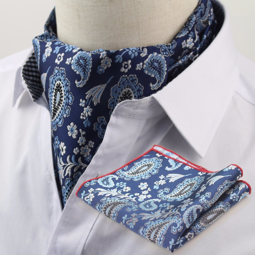 Cravat Pocket Square Set Formal Necktie Hankerchief Ascot Scrunch Self Polka Dot Gentleman Polyester Silk Neck Tie