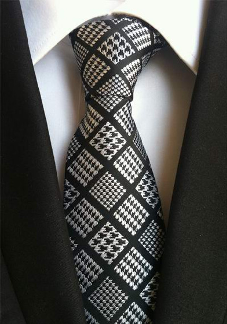 New Arrivel Geometric Black White Hand Made Jacquard Woven Silk Mens Ties Neck Tie 8cm Ties for Men Business Suit Wedding Party