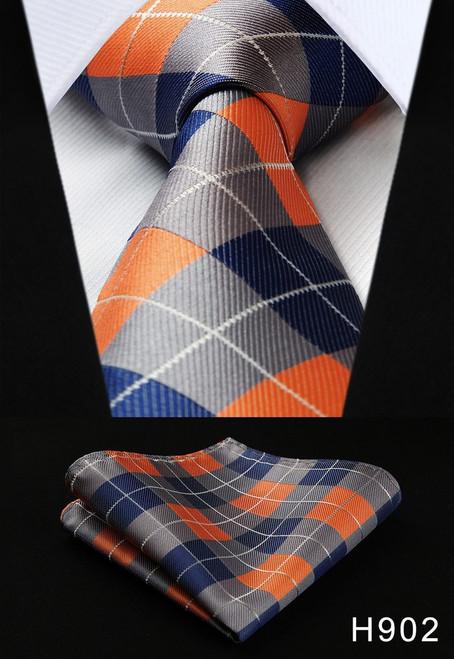 "Dot Check Striped Check New 3.4"" 100% Silk Jacquard Woven Classic Man's Tie Necktie #H9"
