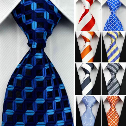 "4""/10cm Wide Gravatas Mens Accessories Striped Geometric Pattern Business Silk Tie Necktie for Men Wedding Suit Jacquard Tie"