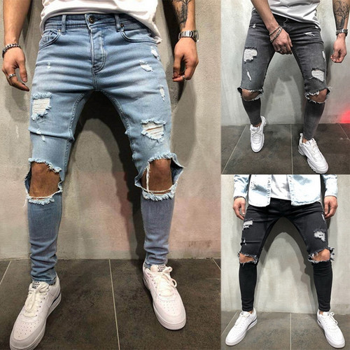 WENYUJH 2019 Cotton Jean Men's Pants Vintage Hole Cool Trousers Guys Summer Europe America Style Plus Size 4XL Ripped Jeans Men