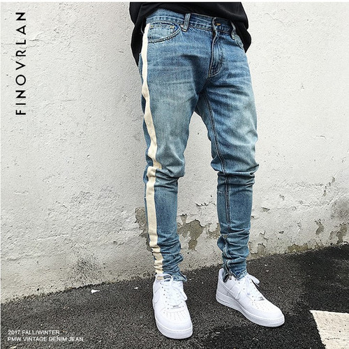 kanye weist black Skinny Jeans Men Hip Hop stripe Ripped Elastic Slim Fit Jeans Male Stretchy Pants street fear of God trousers