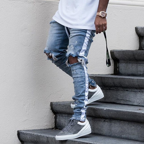 HEYGUYS new fashion pants men skinny jeans Men streetwear ripped jeans for man Fitted Bottoms zipper hip hop jeans homme denim