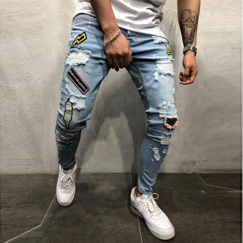 Streetwear Men's Jeans Vintage Blue Skinny Destroyed Ripped Jeans 2018 Broken Punk Pants Homme Hip Hop Jeans Men Trousers 3XL