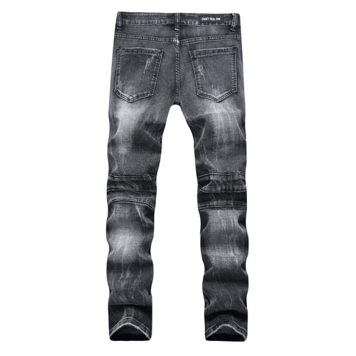 YUANL SH New Ripped Jeans Men Stretch Cargo Denim Biker Jeans with Zippers Pleated straight brand jeans Men's Scratched Pants