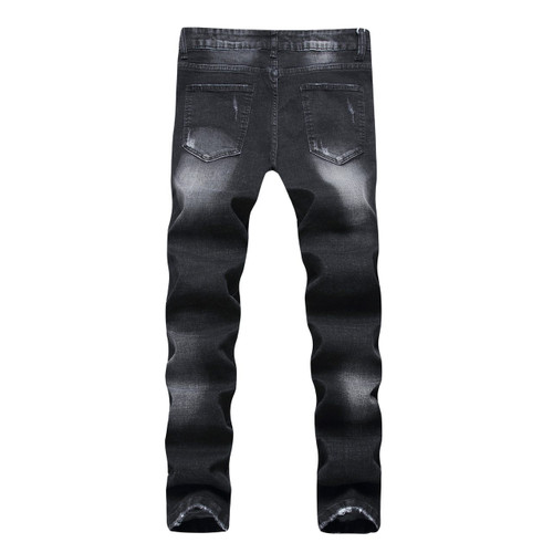 New Hi-Q Classic male biker jeans with zipper Skinny new brand jeans Men's Pants Strech Scratched Hiphop Jean For Men