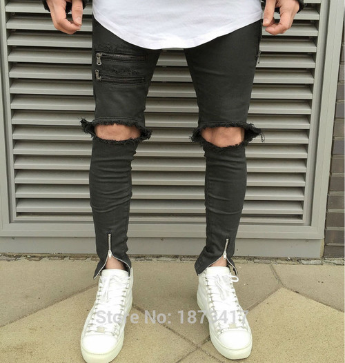 Newest Men Hip Hop Zipper Ripped Biker Jeans Fashion Slim Fit Motorcycle Jeans Men Distressed Biker Denim Jeans