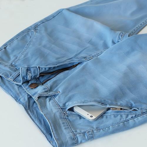 Summer New Nne jeans Men 9 Points pants Men Loose Elastic Anti-theft Pocket Casual pants High-end brand Men's jeans Size 27-48