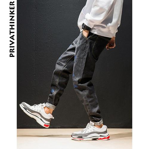 Privathinker Letter Embroidery Jeans Pants Men 2018 Designer Mens Streetwear Black Jeans Pants Male Fashions Casual Denim Pants