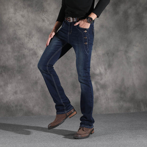 Mens Vintage Stretch Regular Fit Jeans Men Casual Boot Cut Jeans Slim Street Style Elastic Flared Jeans Male Black Blue
