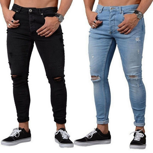 NIBESSER Skinny Blue Jeans Men Autumn Vintage Denim Pencil Pants Casual Stretch Trousers 2018 Sexy Hole Ripped Male Zipper Jeans