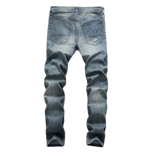 Japanese Style Fashion Men Jeans Retro Blue Destroyed Ripped Jeans For Men DSEL Pants Slim Fit Streetwear Hip Hop Jeans homme