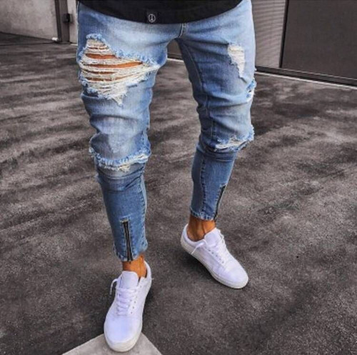 Fashion Streetwear Mens Jeans Hip Hop Pants Blue Color Destroy Ripped Jeans Broken Elastic Skinny Fit Zipper Open Punk Jeans Men