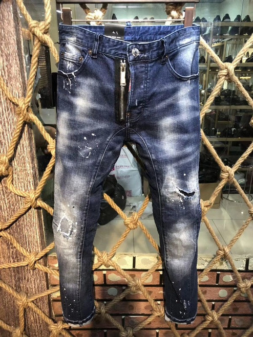 2018 New arrival famous Brand slim fit summer fashion patchwork denim ripped zipper biker skinny jeans hole for man Freeshipping