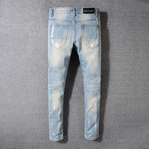 2018 Newly Fashion Men's Jeans Light Blue Color High Street Punk Pants Printed Jeans Skinny Fit Destroyed Ripped Jeans Men
