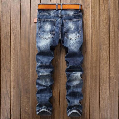 Fashion Blue men's jeans ripped pants Punk Rock style elasticity casual Holes trousers cool stretch man denim pants