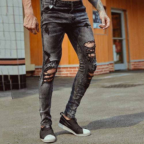 Ripped Hole Jeans Skinny Fit Slim Jeans Men Pantalon Vaquero Hombre Denim Trousers Men Hip Hop Pants Ripped Jeans For Men