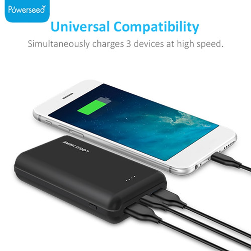 10000mAh QC3.0 Mini Power Bank Portable Dual USB Charger Powerbank External Battery Fast Charging for Samsung Xiaomi for iphoneX