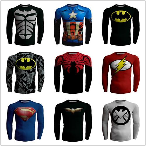 Spiderman Batman Top Fitness Compression Shirt Men Superman Avengers Captain America Bodybuilding Long Sleeve 3D T Shirt Tee New