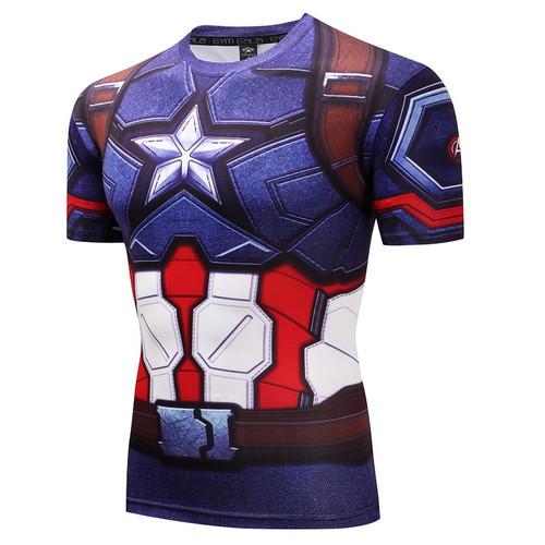 2018 Marvel Captain America Super Hero lycra compression tights T shirt Men fitness clothing short sleeves 3D Printed T-shirt