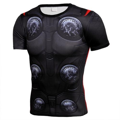 Newest Captain America Superhero T Shirts Compression Shirt 3D Short Sleeve T Shirt Thor God of Thunder Fitness Men Crossfit Top