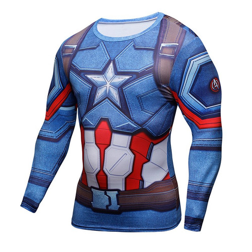 Captain America Fitness 3D Print Long Sleeve T Shirt Men Fashion Brand Tight Thermal Compression T-Shirt MMA Crossfit Tshirt Top