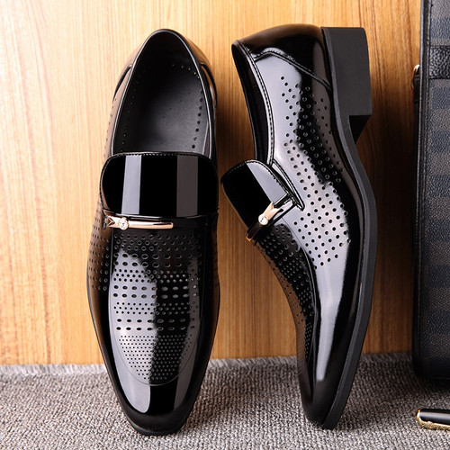Summer Autumn Pointed Toe Mens Dress Shoes 2018 Breathable Black Wedding Shoes Formal Suit Office Shoes Man Leather Shoe
